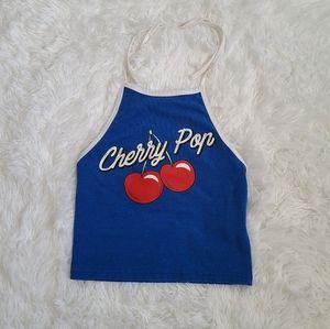 Forever 21 Blue Cherry Pop Halter Crop Top SZ S